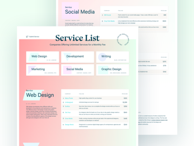 Side Project Launch: Service List one page calibre bluu next side project