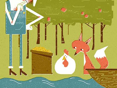 Farmer Fox Chicken Grain childrens illustration illustration
