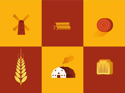 NEWLAT | Mondo Grano 1 world house farm icon bread pasta wheat illustration