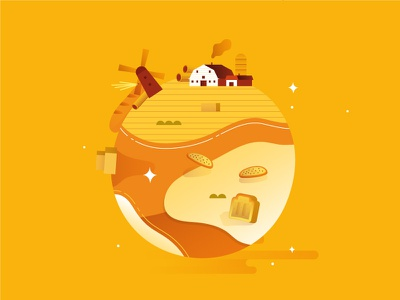 NEWLAT | Mondo Grano 3 planet world house farm icon bread pasta wheat illustration