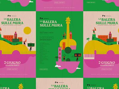 Sulle Mura Poster italym piacenza dance summer event poster music concert illustration