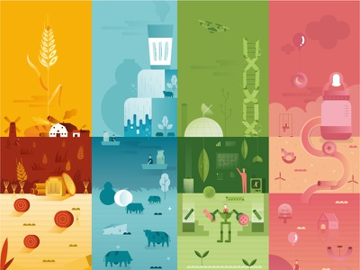 Newlat | 4 planets playground plant farm milk italy pasta food planet world illustration