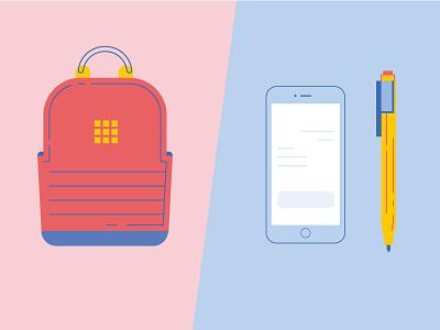 Stationery 01 vector icon phone design pen bag school object illustration