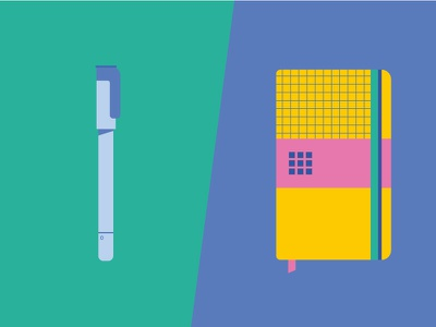 Stationery 02 object school book pen stationery vector icon design illustration