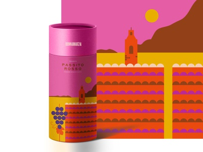 Passito Rosso beverage italy wine vector packaging design illustration
