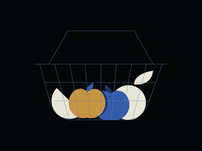 Fruit Basket design food grocery shopping digital orange apple illustration basket fruit