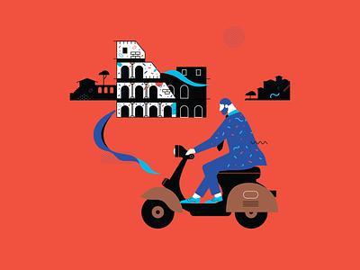 Rome vespa fashion travel italy rome design illustration