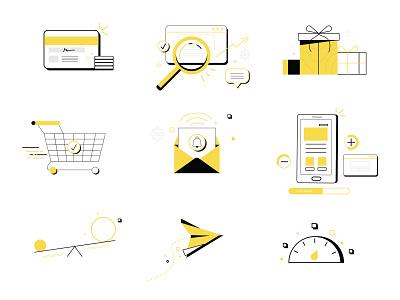 #f9d94d commerce ecommerce website vector icon illustration design