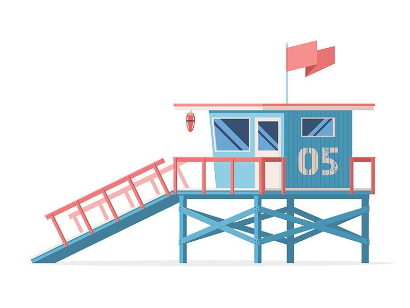 Coast Guard Station summer illustration icon flat station beach guard