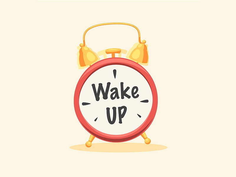 Wake Up Sign fun sign cartoon flat icon clock alarm