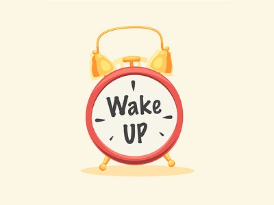 Wake Up Sign fun sign cartoon flat icon clock alarm