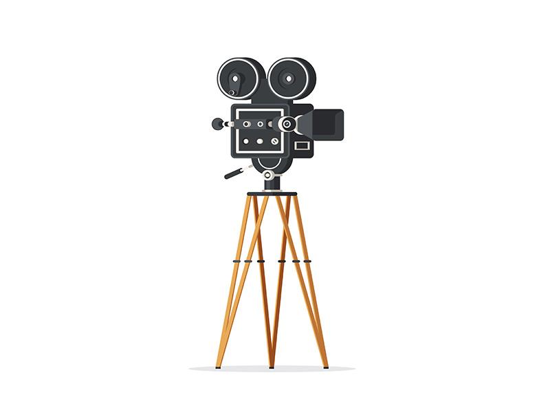 Vintage Movie Camera cinema flat icon retro vector camera film movie