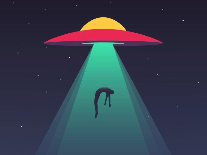Alien extraterrestrial star sky night ray alien illustration vector