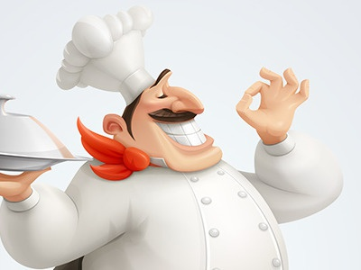 Bellissimo! chef character illustration vector