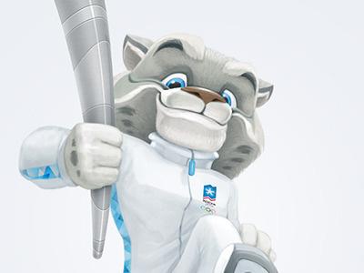 Snow Leopard leopard character mascot olympic sochi-2014