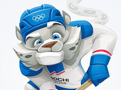Snow Leopard hockey character leopard mascot olympic sochi-2014 vector