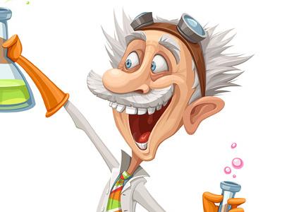 Mad Scientist character vector cartoon illustration scientist