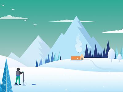 Winter theme gameplay backgrounds flatdesign illustration game game design game background