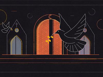 Peaceful artwork istanbul peaceful peace pigeons illustrator photoshop adobe motion graphic graphic art illustration