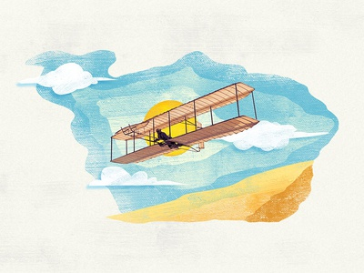 Glider of Wright Brothers sky plane illustration graphic motion