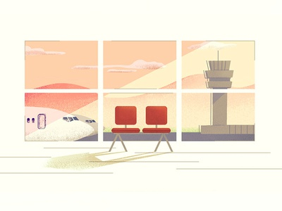 Airport waiting room airport graphic motion scene design color illustration