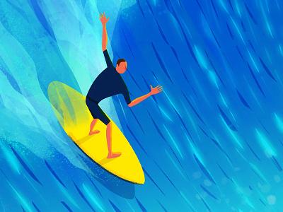 Surf illustration poster graphic print design