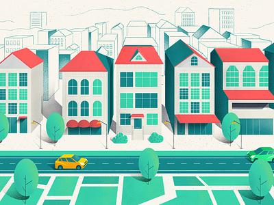 Qwill Scene 02 animation 2d motion design motion design city illustration street