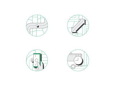Flexigo illustration v.01 branding icon geometric graphic print green road money transportation simple vector minimal illustrator illustration