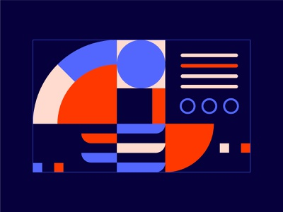 Geometric v.01 basic shapes basic abstract blue red geometric simple artwork illustration graphic design flat