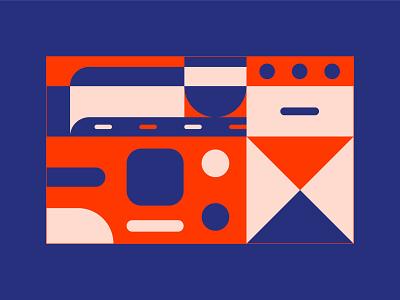 Geometric v.02 design flat illustrator illustration simple geometric blue red artwork abstract basic shapes shapes basic