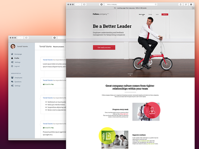 Follow.Company folow company landing webdesign flat red corporate leader bicycle suit