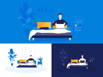 Homeoffice from bed dark blue bed remote homeoffice home illustration nicereply