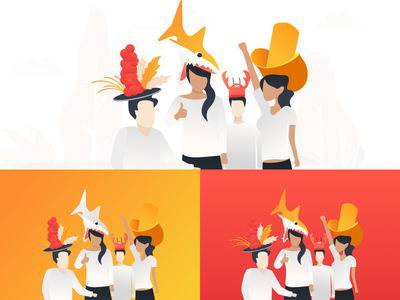 Silly Hats orange red flat illustration hats silly