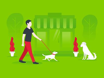 Loyalty blog illustration customer dogs flat illustration blog loyalty green dog