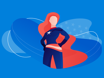 Lady Bosses illustration flat capatain marvel superwoman superhero marvel wonder woman blue blog nicereply