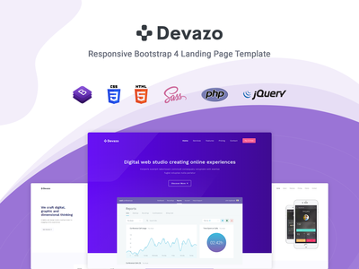 Devazo - Landing Page Template startup responsive product launch multipurpose marketing launch landing page creative corporate business bootstrap