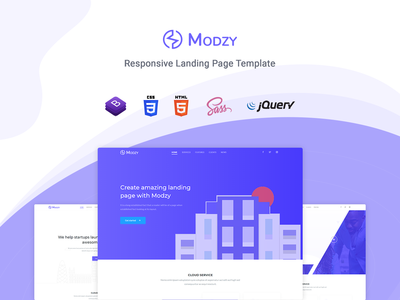 Modzy - Landing Page Template startup responsive product launch multipurpose marketing launch landing page creative corporate business bootstrap