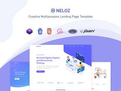 Neloz - Landing Page Template startup responsive product launch multipurpose marketing launch landing page creative corporate business bootstrap