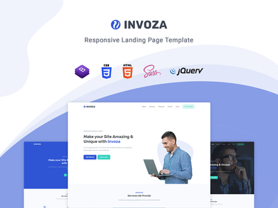 Invoza - Responsive Landing Page Template startup responsive product launch multipurpose marketing launch landing page creative corporate business bootstrap