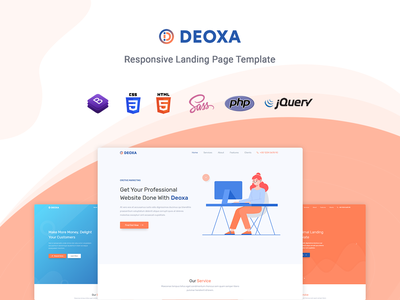 Deoxa - Landing Page Template startup responsive product launch multipurpose marketing launch landing page creative corporate business bootstrap