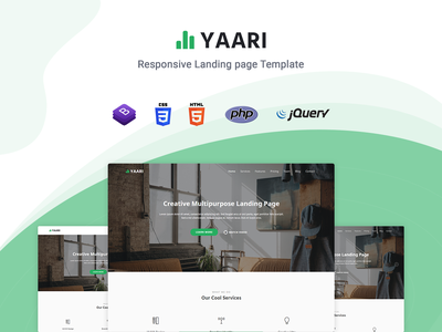 Yaari - Landing Page Template startup responsive product launch multipurpose marketing launch landing page creative corporate business bootstrap