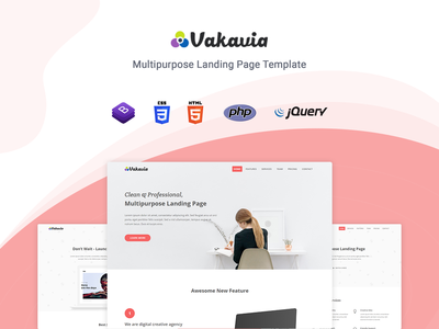 Vakavia - Multipurpose Landing Page Template startup responsive product launch multipurpose marketing launch landing page creative corporate business bootstrap