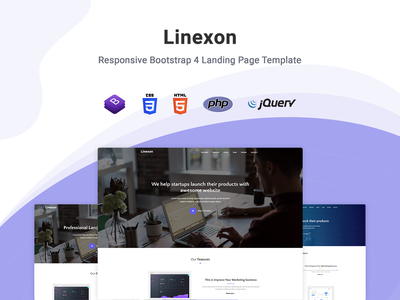 Linexon - Landing Page Template startup responsive product launch multipurpose marketing launch landing page creative corporate business bootstrap