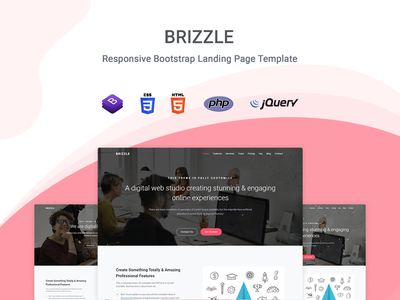 Brizzle - Landing Page Template startup responsive product launch multipurpose marketing launch landing page creative corporate business bootstrap