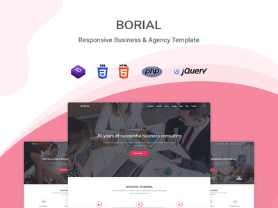 Borial - Business & Agency Template startup responsive product launch multipurpose marketing launch landing page creative corporate business bootstrap