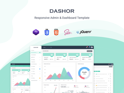 Dashor - Admin Dashboard Template ui kit scss sass support responsive admin material design dashboard crm cms bootstrap 4 admin template admin dashboard