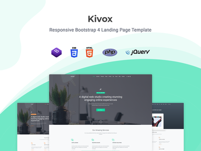 Kivox - Landing Page Template startup responsive product launch multipurpose marketing launch landing page creative corporate business bootstrap