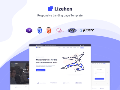 Lizehen - Landing Page Template startup responsive product launch multipurpose marketing launch landing page creative corporate business bootstrap
