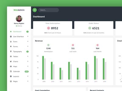 Webadmin - Dashboard web ux ui clean admin flat dashboard