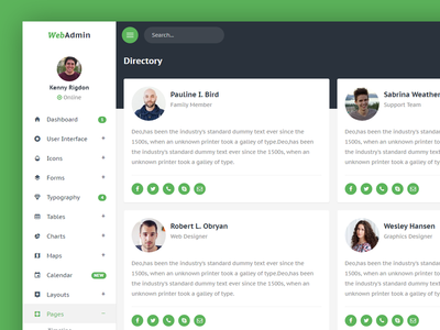 Directory - Admin web ux ui clean admin flat dashboard